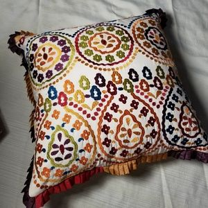 Pier 1 Embroidered Multi Colored Pillow